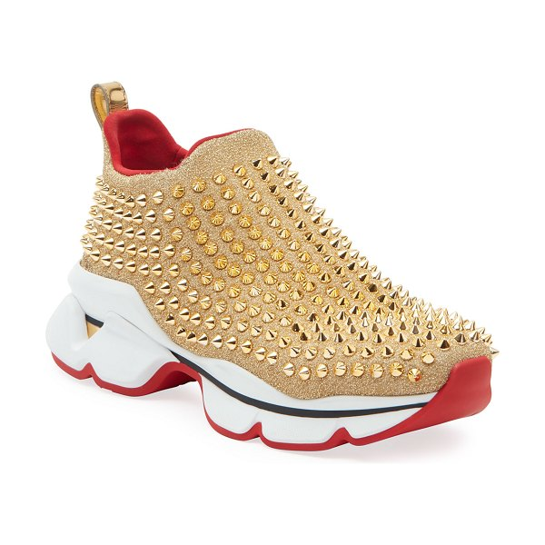 Christian Louboutin Spike Sock Red Sole Sneakers in gold