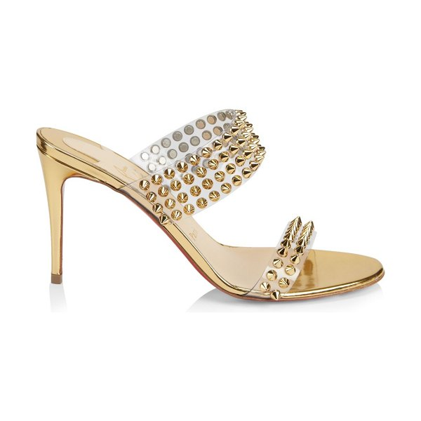 Christian Louboutin spikes only 85 translucent & leather mule sandals in gold