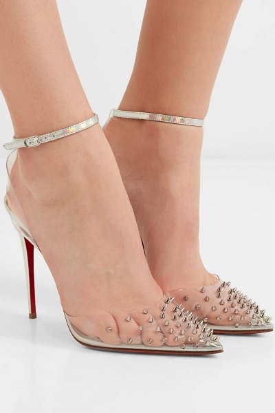 Christian Louboutin spikoo 100 spiked pvc and iridescent leather pumps in metallic