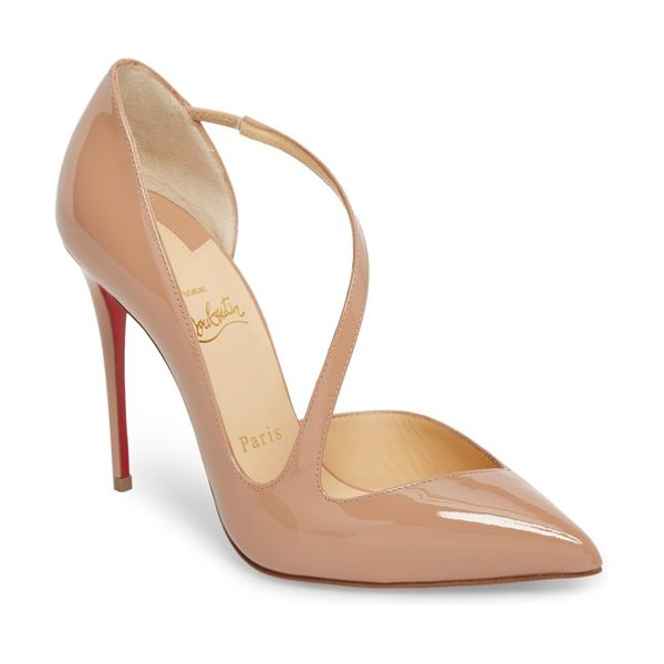 Christian Louboutin strappy half d'orsay pump in beige - A slender strap arcs across a pointy-toe pump featuring...