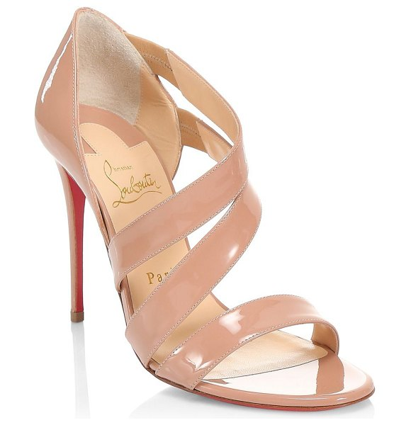 Christian Louboutin world copine 100 patent leather pumps in nude - Wide straps curve around the foot, lending these patent...