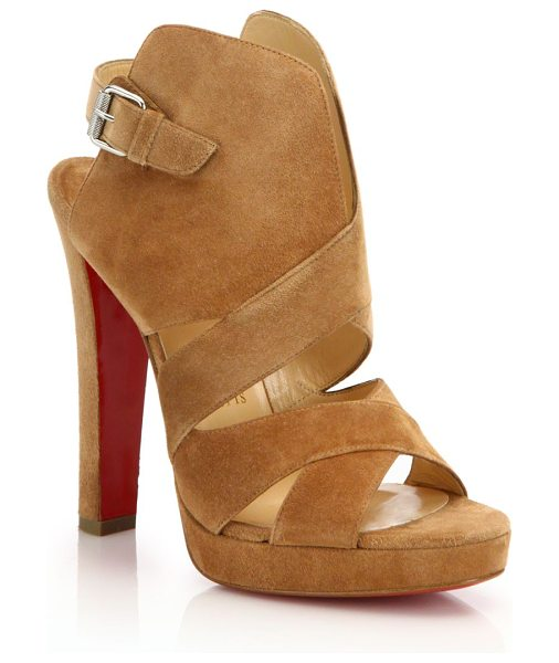 CHRISTIAN LOUBOUTIN Suede open-toe sandals - Structurally chic sandal in soft-touch suedeCovered...