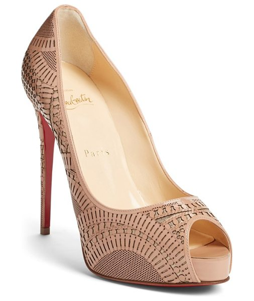CHRISTIAN LOUBOUTIN suellena laser cut peep toe pump - Intricately laser-cut patent leather overlays a dusting...