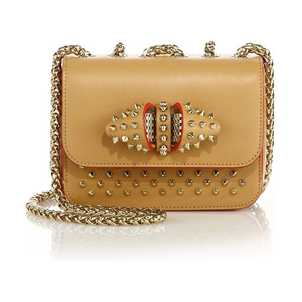 Christian Louboutin Sweet charity baby studded leather crossbody bag in biscuit - Signature stud design updated with quirky inverted...