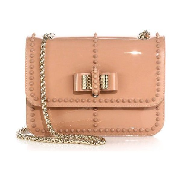 Christian Louboutin Sweet charity studded patent leather shoulder bag in nude-goldtonehardware