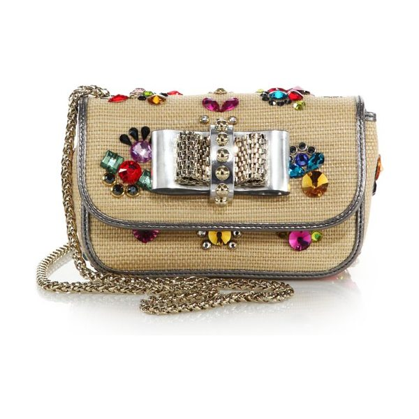 Christian Louboutin Sweety charity embellished raffia clutch in natural-multi - This coveted Christian Louboutin classic is uniquely...