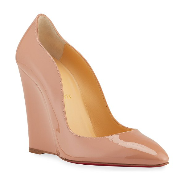 Christian Louboutin Tanja 100 Patent Red Sole Wedge Pumps in nude