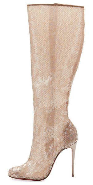 Christian Louboutin Tennissina Sequined Red Sole Knee Boot in nude - EXCLUSIVELY AT NEIMAN MARCUS Christian Louboutin...