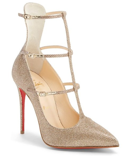 Christian Louboutin toeless caged pointy toe pump in gold glitter fabric - A generous dusting of golden glitter illuminates the...