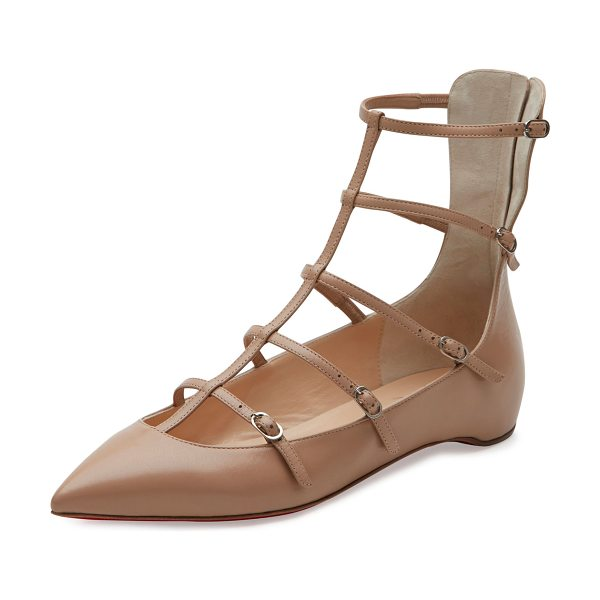 "Christian Louboutin Toerless Muse Caged Skimmer Red Sole Flat in nude - Christian Louboutin kid leather skimmer flat. 0.3"" flat..."