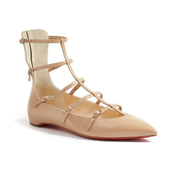 CHRISTIAN LOUBOUTIN toerless muse flat in nude leather -
