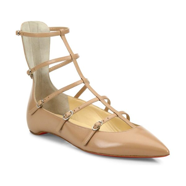 Christian Louboutin toerless muse leather cage flats in nude - Leather point-toe flat topped with slim caged straps....