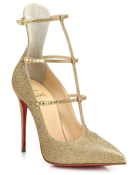 Christian Louboutin Toerless muse triple-strap pumps in gold - Beautifully crafted in a striking triple-strap...