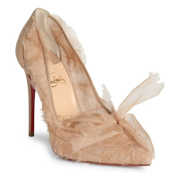 Christian Louboutin toufrou 100 organza point toe pumps in nude - Sheer organza lends romantic appeal to point toe pump....