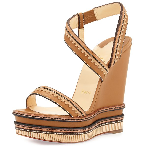 Christian Louboutin Trepi platform wedge red sole sandal in cognac - Christian Louboutin matte calf leather sandal with...