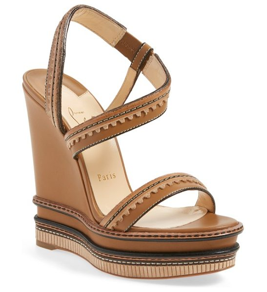 Christian Louboutin trepi wedge sandal in camel noisette leather - Smooth calfskin leather in a chic natural hue is...