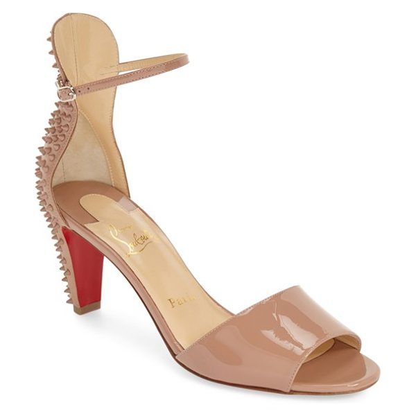 Christian Louboutin trezanita spiked sandal in nude patent - Dangerous-looking spikes bristle at the back of a glossy...