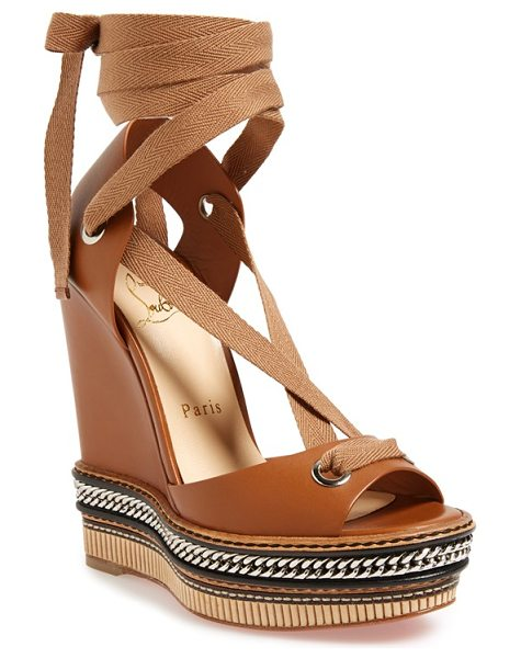 Christian Louboutin tribuli wedge sandal in tan leather - A chain-wrapped platform grounds a sleek Italian-leather...