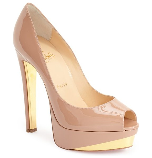 Christian Louboutin tuctivista platform pump in nude/ gold patent - Gilt accents flash at the platform and heel of a...