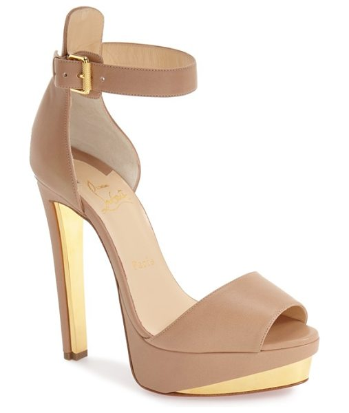 Christian Louboutin tuctopen dorsay platform sandal in nude leather - Inspired by a splash of nail lacquer, Christian...