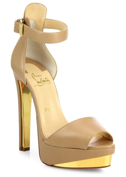 Christian Louboutin Tuctopen leather ankle-strap platform sandals in nude-gold - Leather platform sandal inset with golden metal plates....