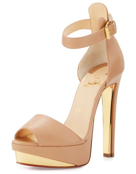Christian Louboutin Tuctopen leather platform red sole sandal in beige - Christian Louboutin calfskin sandal with golden metal...