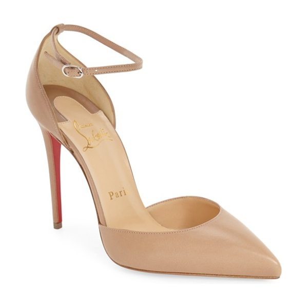 Christian Louboutin uptown ankle strap pointy toe pump in nude leather - A slim stiletto heel and a daring, low-cut topline...