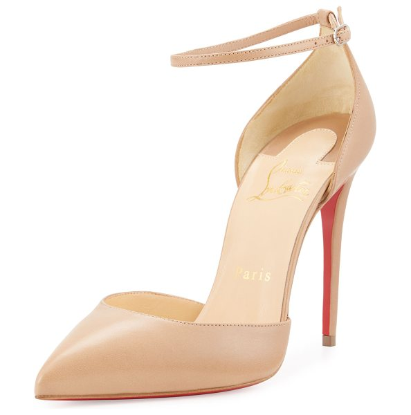 Christian Louboutin Uptown d'Orsay 100mm Red Sole Pump in nude - ONLYATNM Only Here. Only Ours. Exclusively for You....