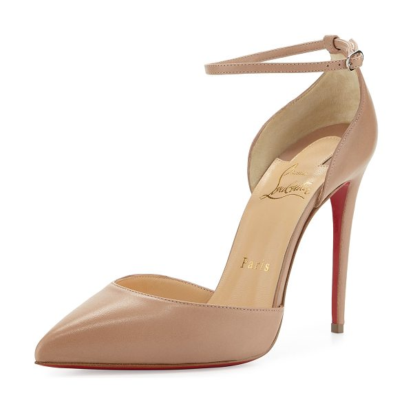 "Christian Louboutin Uptown dorsay 100mm red sole pump in nude - Christian Louboutin low-cut napa leather pump. 4""..."