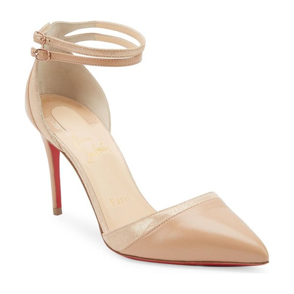Christian Louboutin uptown 85 leather pumps in nude - Leather point toe pumps with metallic trim. Self-covered...