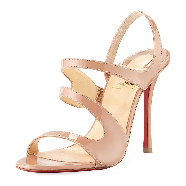 "Christian Louboutin Vavazou Asymmetric Red Sole Sandal in nude - Christian Louboutin patent leather sandal. 4"" covered..."