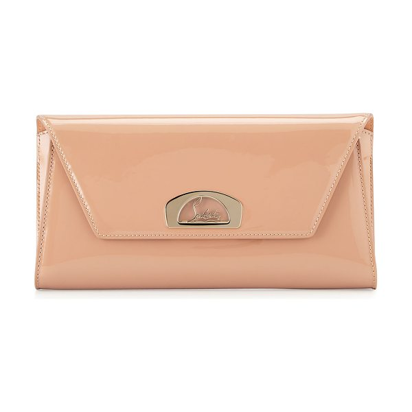"Christian Louboutin Vero Dodat Flap Patent Clutch Bag in nude - Christian Louboutin ""Vero Dodat"" patent leather clutch..."