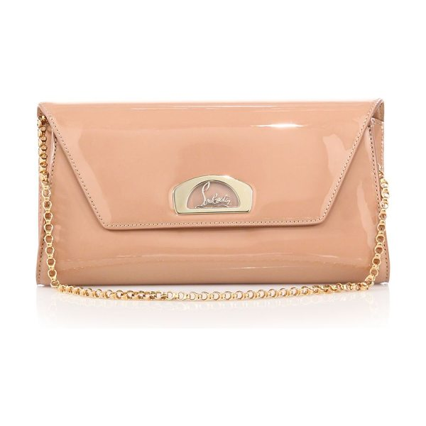 Christian Louboutin vero dodat patent leather clutch in nude - Sleek leather clutch with signature hardware and chain...