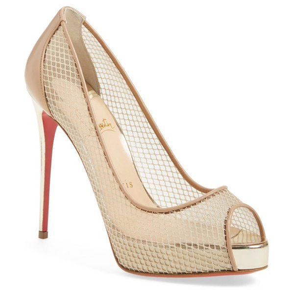 Christian Louboutin 'very rete' mesh peeptoe pump in beige leather/ mesh - A dramatic mesh platform pump perched on a soaring...