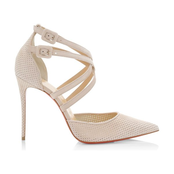 Christian Louboutin victorilla perforated leather pumps in beige