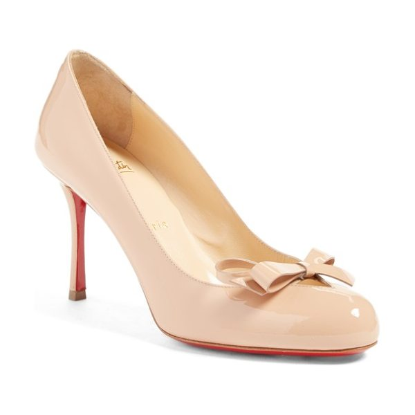 Christian Louboutin vinodo bow cutout pump in nude patent - A slightly asymmetrical bow adorns the V-cut topline of...