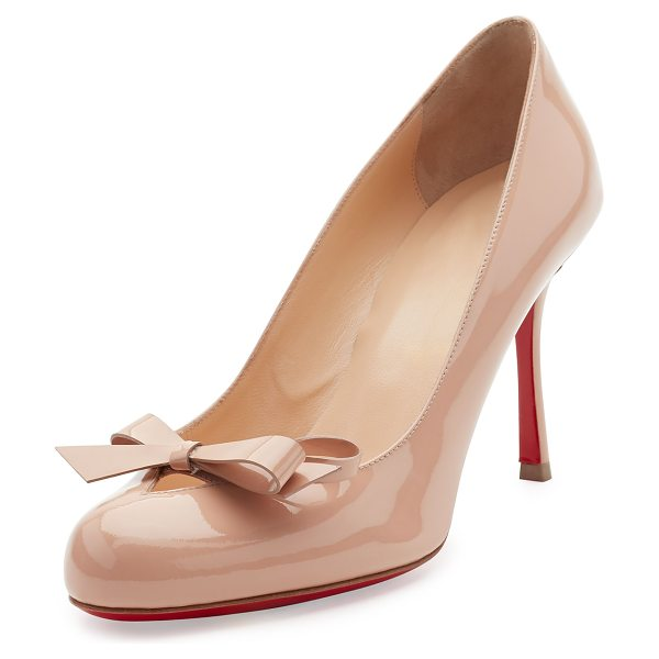 Christian Louboutin Vinodo Patent Bow 85mm Red Sole Pump in nude - Christian Louboutin patent leather pump. Available in...