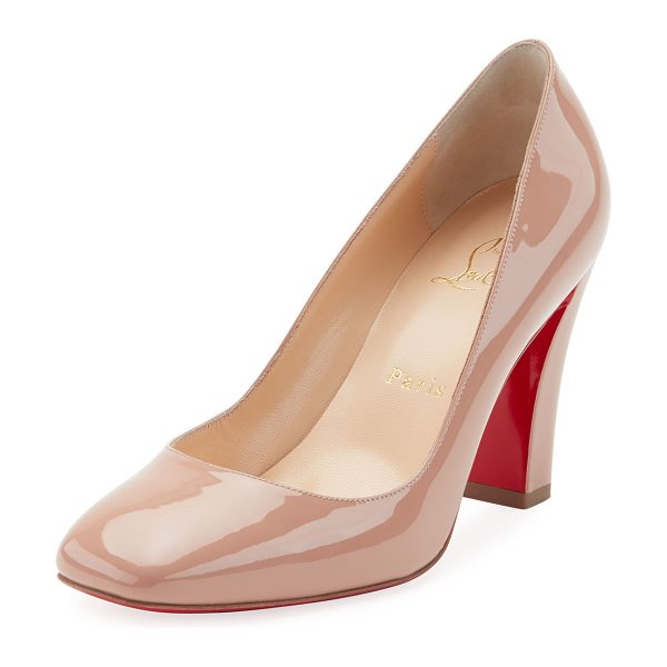 "CHRISTIAN LOUBOUTIN Viva Patent Red Sole Pumps in beige - Christian Louboutin patent leather pump. 3.3"" covered..."