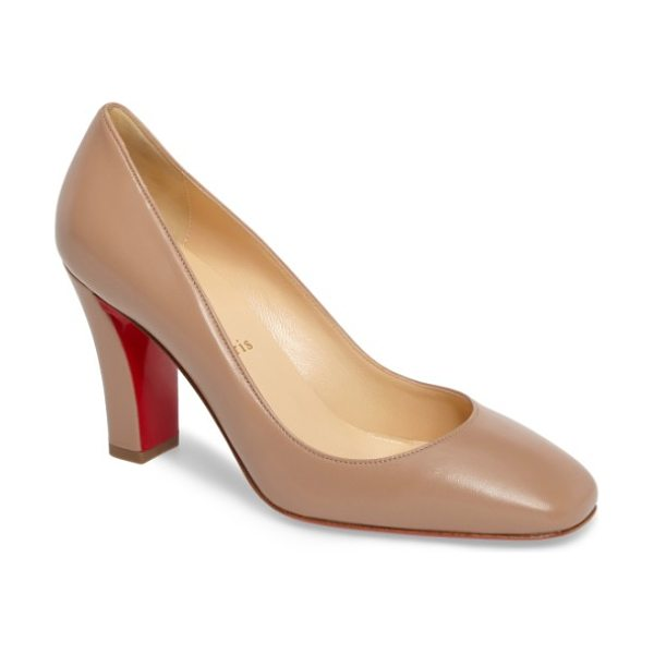 Christian Louboutin viva pump in nude leather - An architectural block heel provides walkable height to...