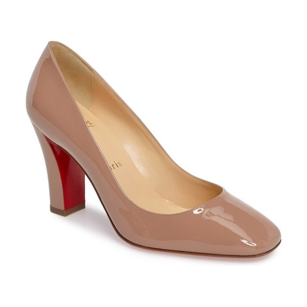 Christian Louboutin viva pump in beige - An architectural block heel provides walkable height to...
