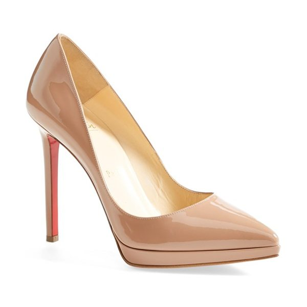 Christian Louboutin 'pigalle plato' pointy toe pump in nude - A go-to style that's anything but basic, this glossy...