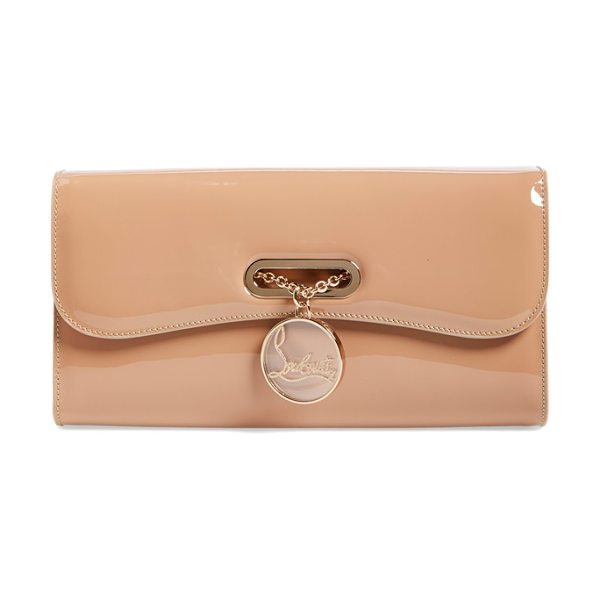 Christian Louboutin Riviera patent leather clutch in nude - Inspired by the ladies of the Cote d'Azur, an exquisite...