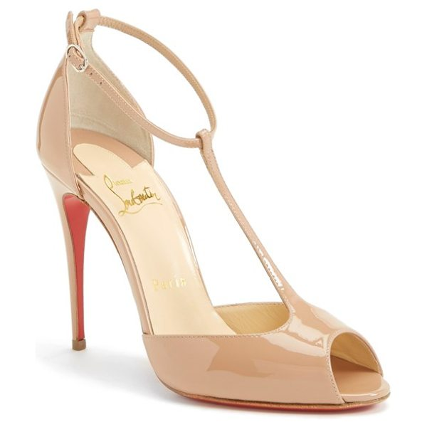 """CHRISTIAN LOUBOUTIN senora t-strap open toe pump in nude - A shoe has so much more to offer than just to walk.""""..."""