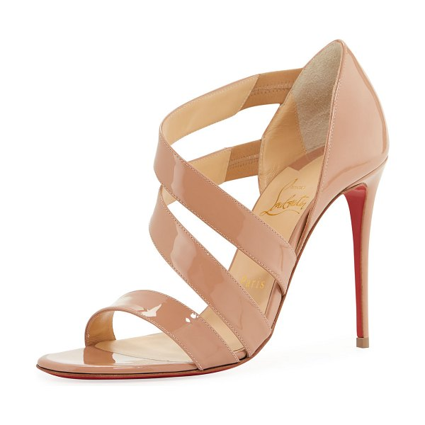 """Christian Louboutin World Copine Red Sole Pumps in nude - Christian Louboutin shiny patent leather pumps. 4""""..."""