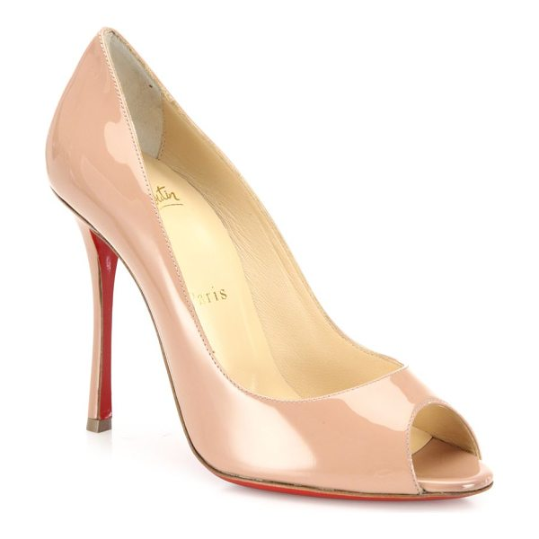Christian Louboutin yootish 100 patent leather peep toe pumps in nude - Timeless peep-toe pump cast in glossy patent leather....