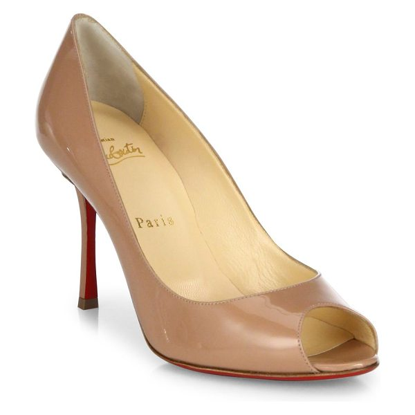 CHRISTIAN LOUBOUTIN yootish 85 patent leather peep toe pumps - Timeless peep-toe pump cast in glossy patent leather....
