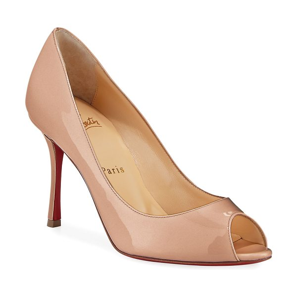 "CHRISTIAN LOUBOUTIN Yootish 85mm Peep-Toe Red Sole Pump - Christian Louboutin pump in patent calf leather. 3.3""..."