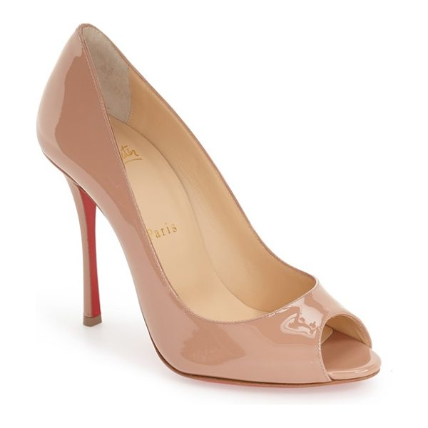 Christian Louboutin yootish peep toe pump in nude patent - High-shine patent leather extends the timeless...