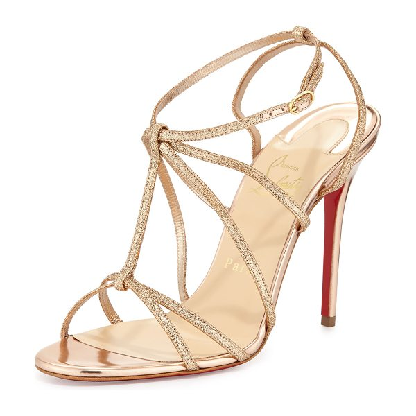 Christian Louboutin Youpiyou Glittered Red Sole Sandal in nude