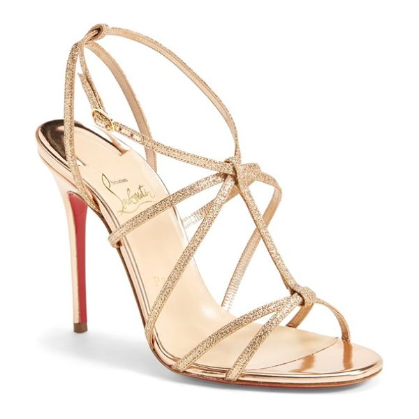 CHRISTIAN LOUBOUTIN youpiyou metallic leather sandal in nude - Slender silvertone straps grace a gorgeous, minimalist...